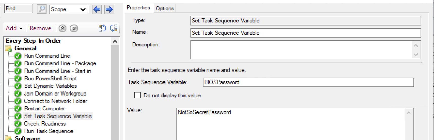 Task Sequence Variables 1