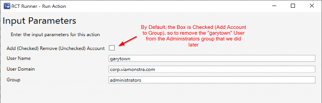 Run action to remove the account