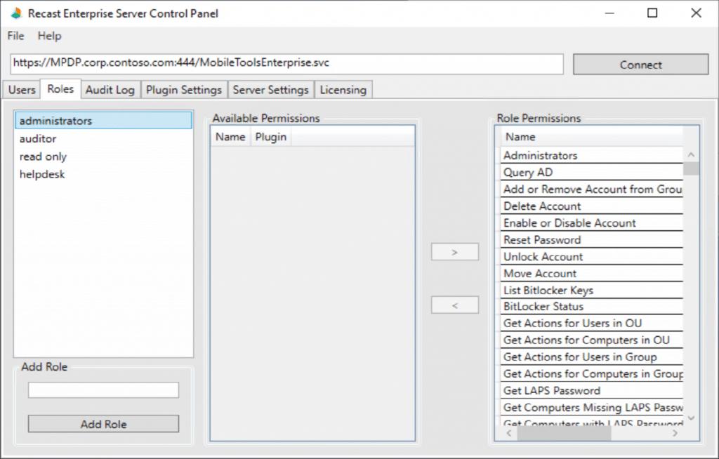 Recast Enterprise Server Control Panel