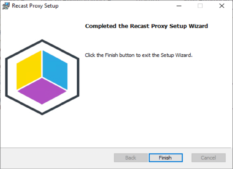 Click finish to exit the Setup Wizard