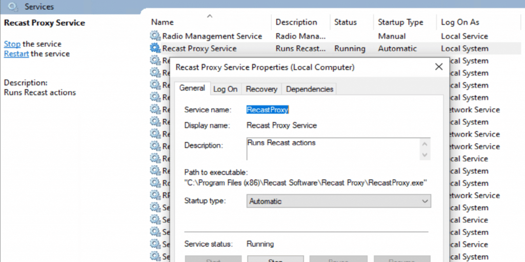 Service account and user permissions