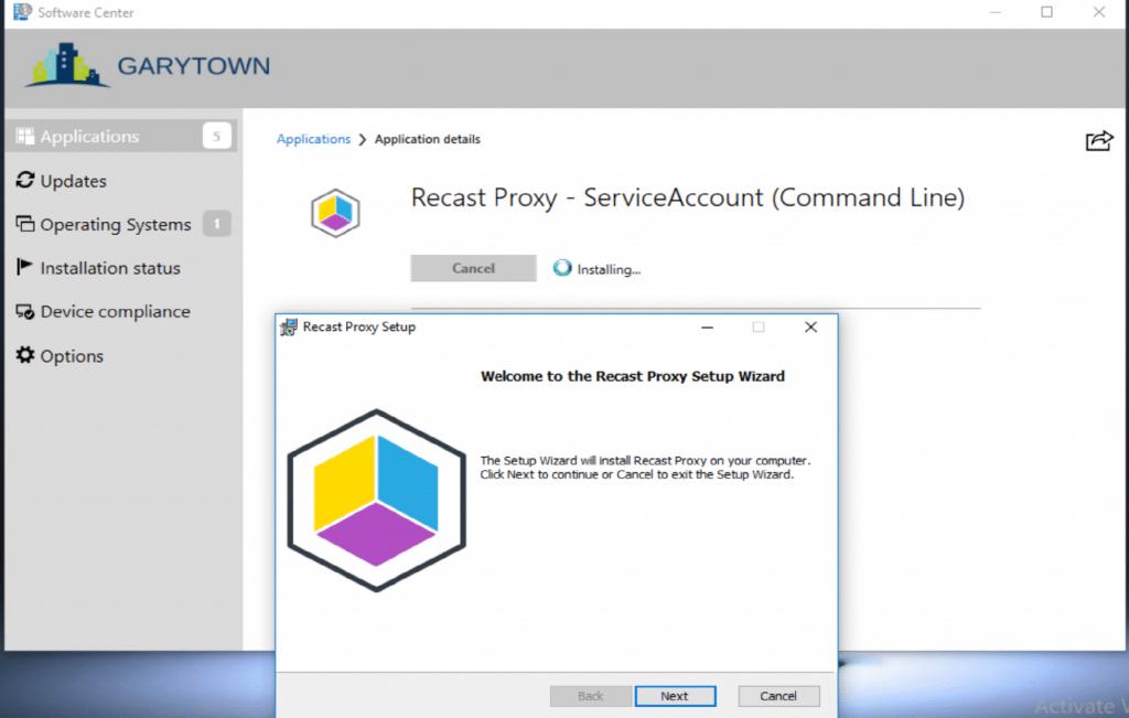 Recast Proxy Setup Wizard