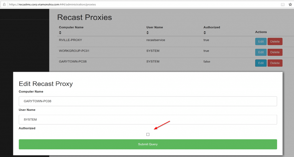 """Recast Server Portal -> Proxies""""></div><figcaption>Recast Server Portal -> Proxies</figcaption></figure> <p>After you install the Proxy software, you need to authorize it.</p> <p>After you authorize it, if you're using a Service Proxy, you need to setup the routes [<a href="""