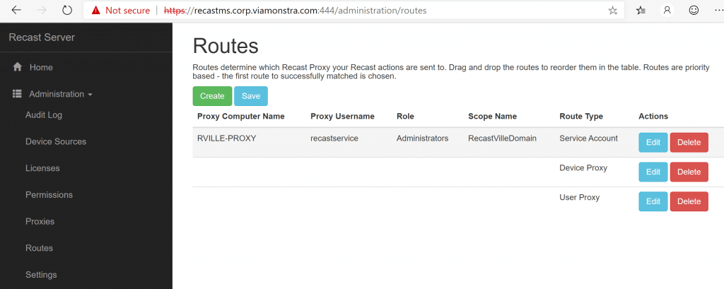Routes Tab: RVILLE-PROXY which is a Service Account Proxy Type
