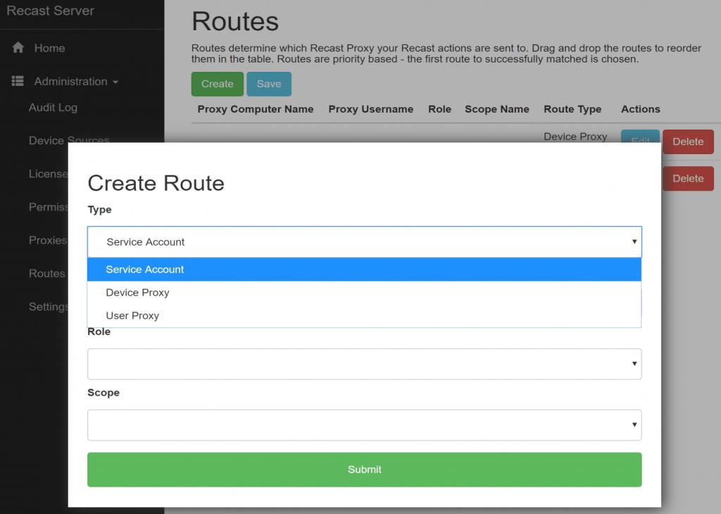 Create Route - Service Account