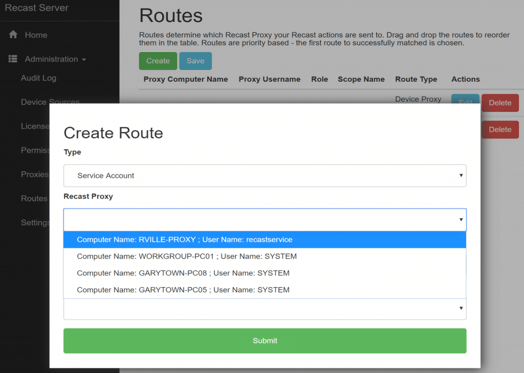Choose the Proxy Machine for this Route