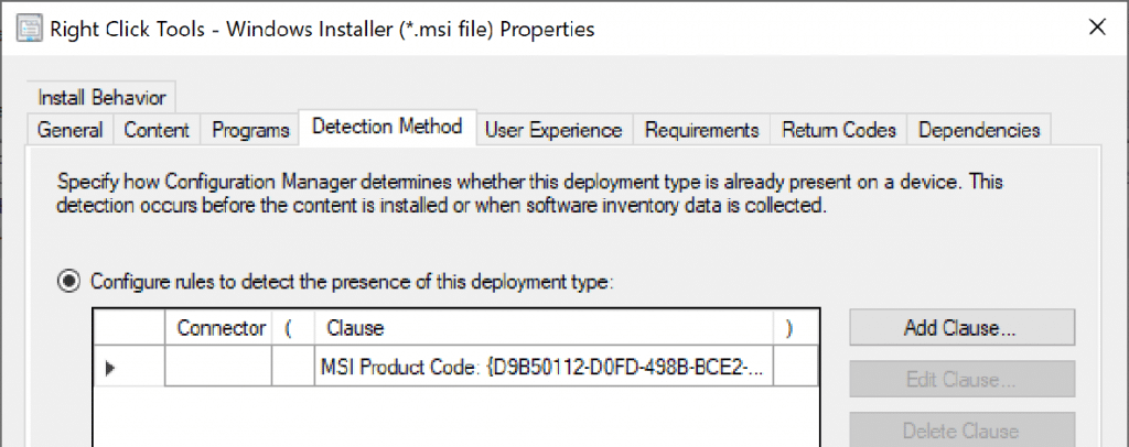 Configure the rules to detect the presence of this deployment type