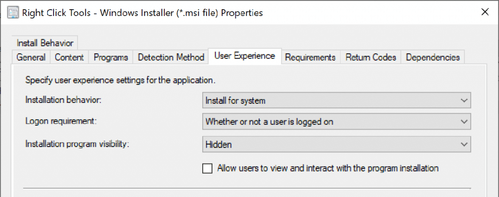 Specify User Experience Settings