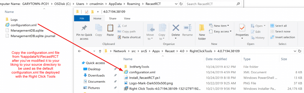 Make changes then grab the configuration.xml file