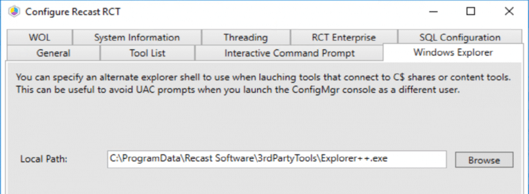 Windows Explorer tab