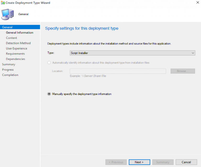 Specify settings for this deployment type