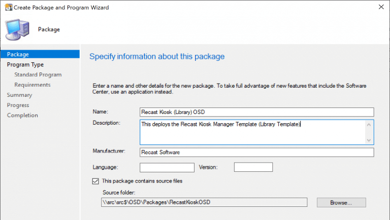 Create a ConfigMgr Package