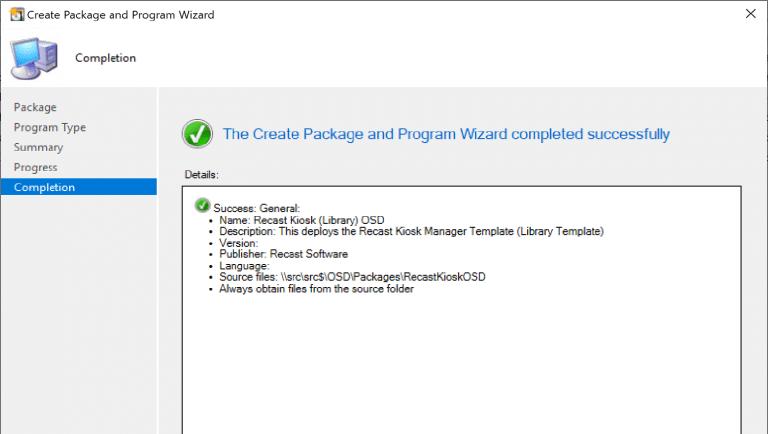 Create a ConfigMgr Package Successful