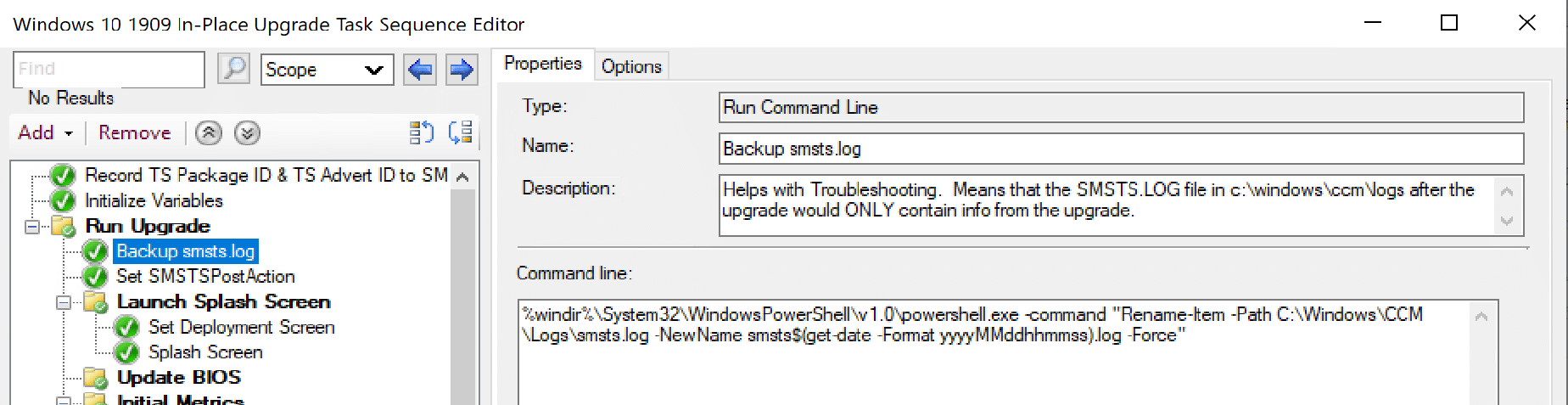 Simple step near start of TS that renames smsts.log