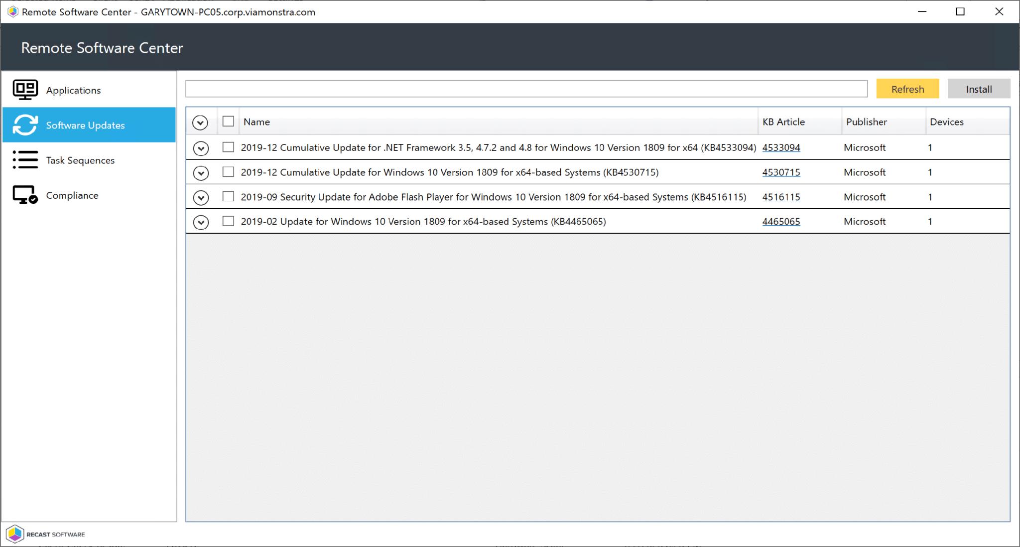 Remote Software Center Software Updates Tab