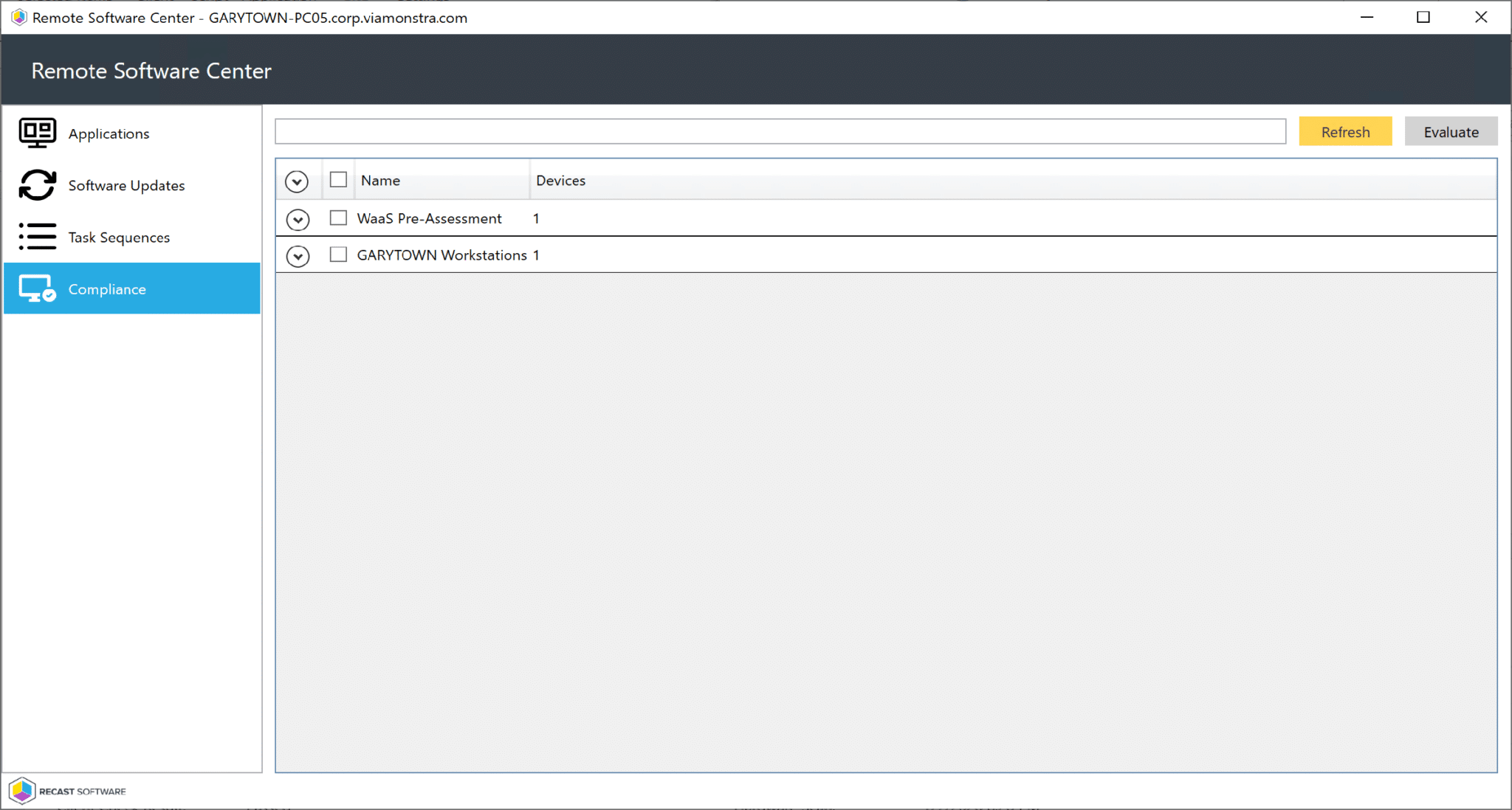 Remote Software Center Compliance Tab