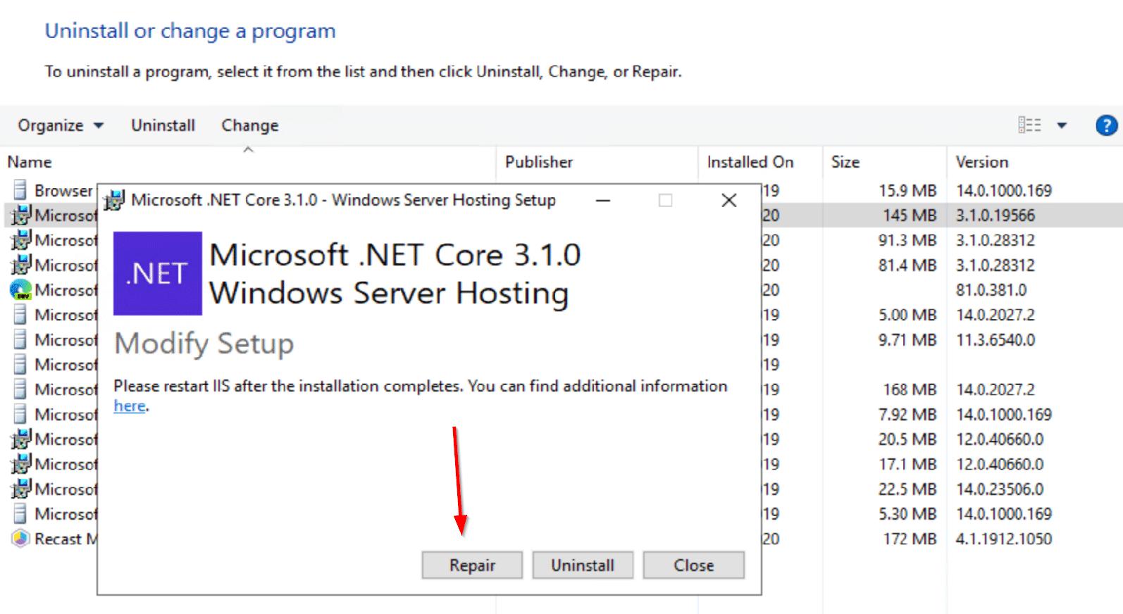 Run a Repair on .Net Core 3.1.0 Windows Server Hosting
