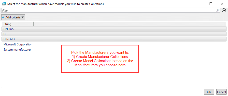 Select the manufacturers