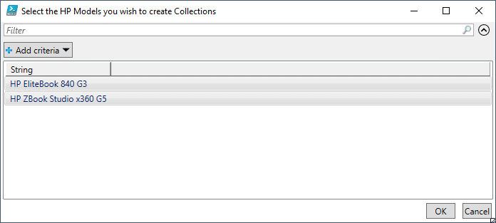 Select the HP Models you wish to create Collections