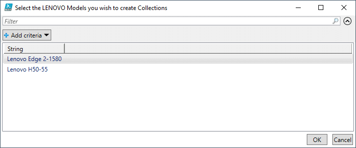 Select the LENOVO Models you wish to create Collections