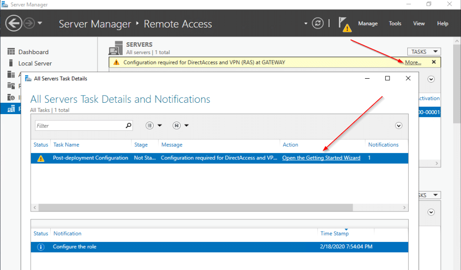 Server Manager Remote Access