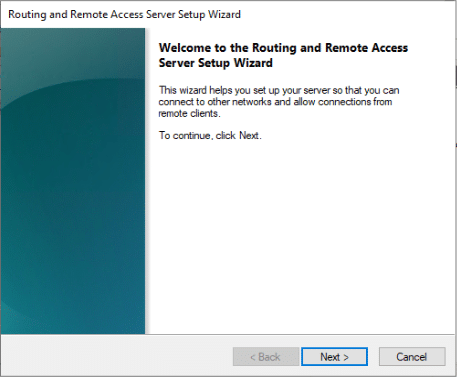 Routing and Remote Access Server Server setup Wizard