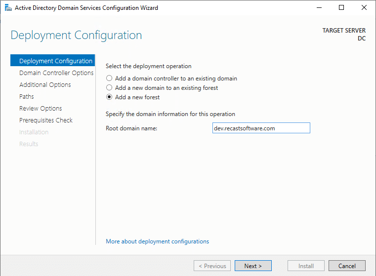 Active Directory Domain Services Configuration Wizard