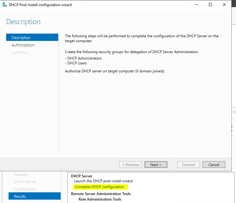 DHCP Post-Install Configuration  manager