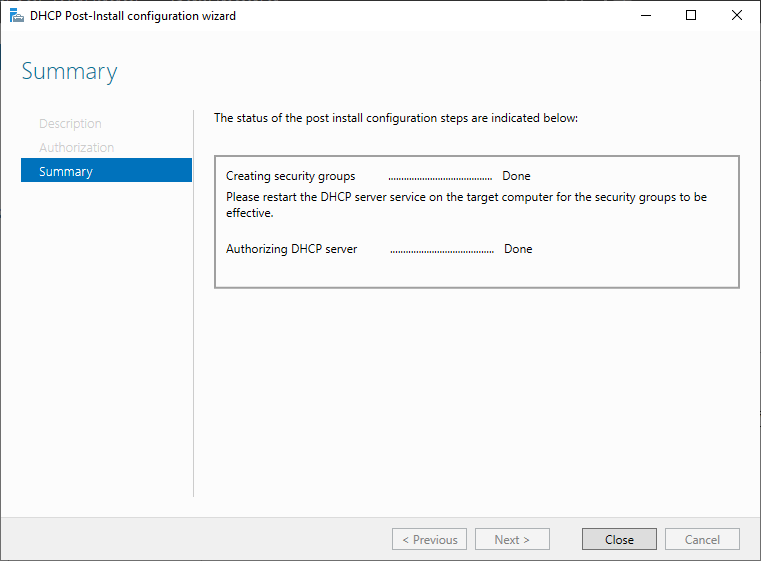 DHCP Post-install Configuration Wizard
