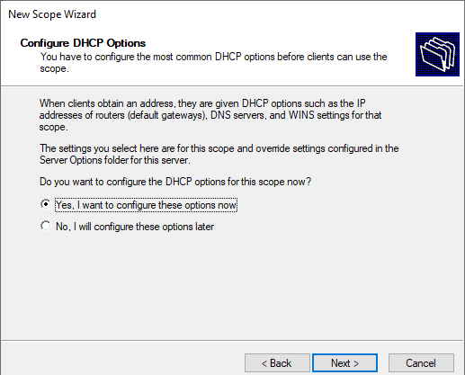 New cope Wizard configure DHCP Options