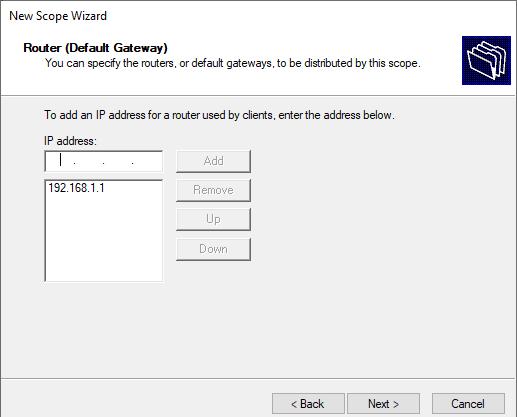Router default gateway