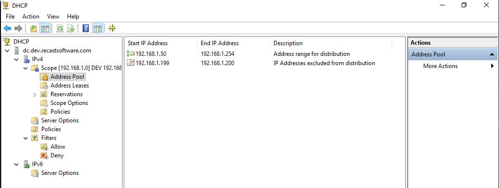 DHCP Address Pool