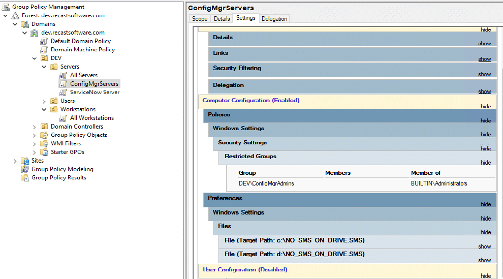 ConfigMgr Servers