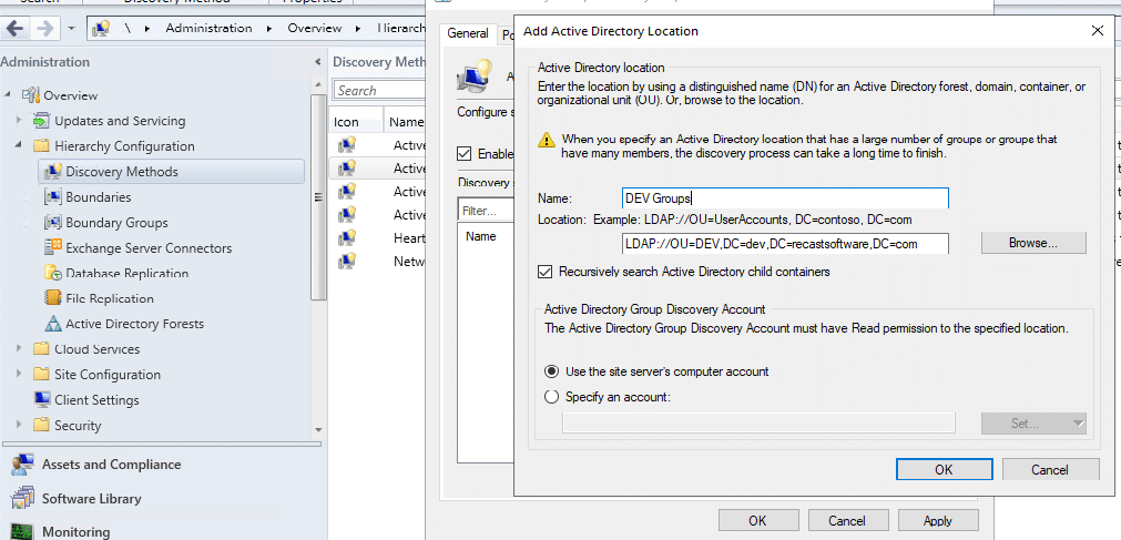 Add Active Directory Location