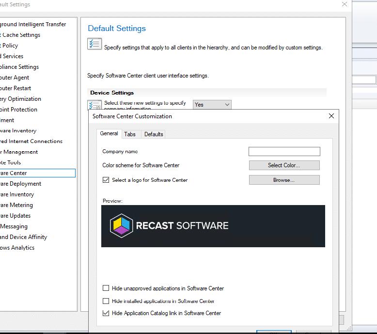 Software Center Default settings