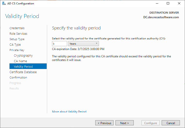 AD CS Configuration Validity Period
