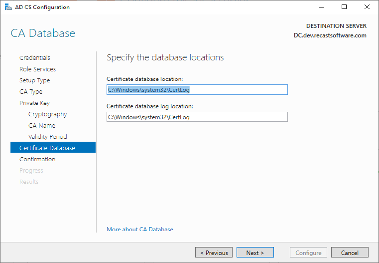 AD CA Configuration Certificate Database