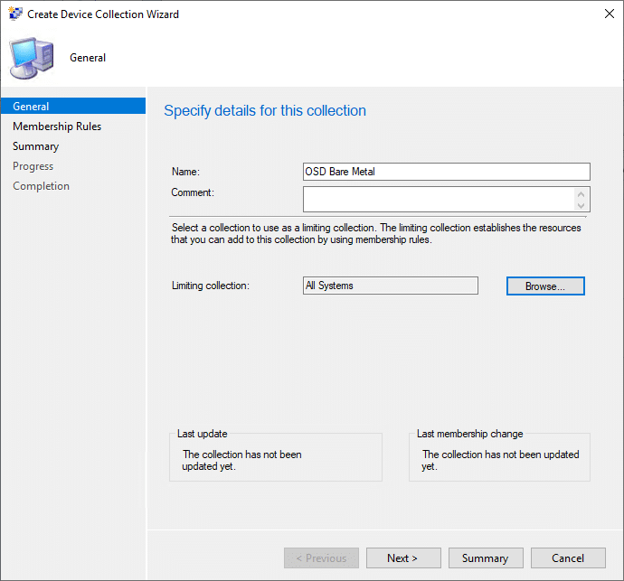 Create Device Collection Wizard general