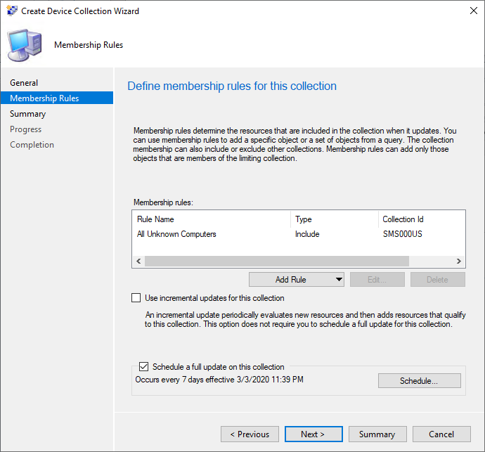 Create Device Collection Wizard Membership Rules