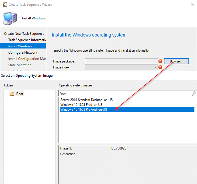 Create Task sequence Wizard Install Windows