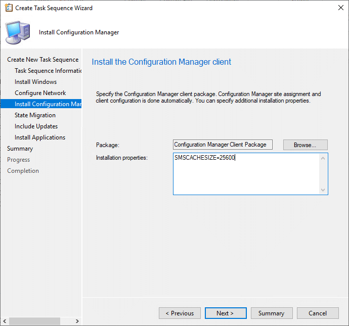 ask sequence Wizard Configuration Manager Client