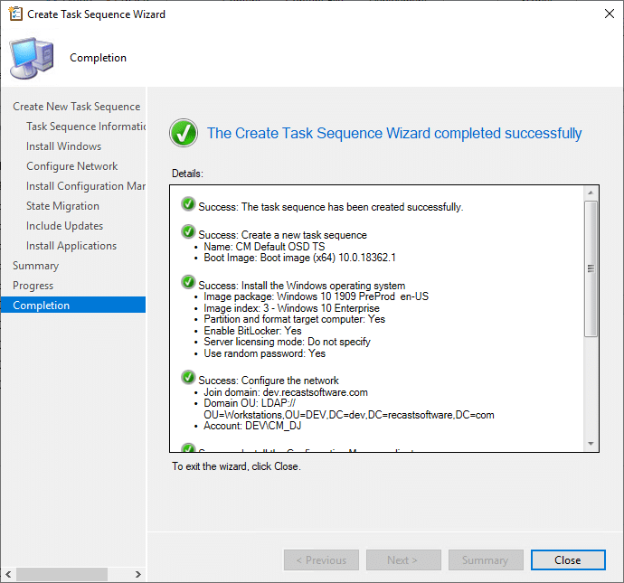 Create Task Sequence Wizard Compeltion