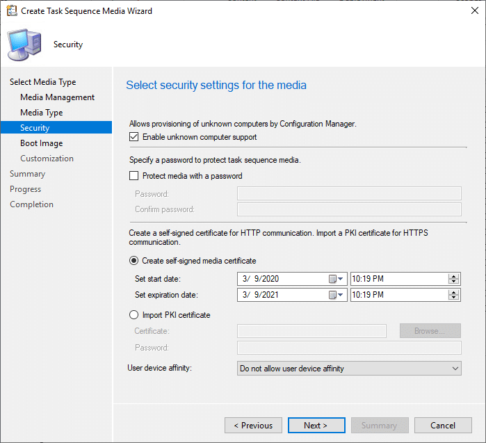 create Task Sequence Media Wizard Security