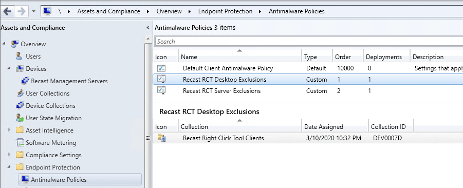 Endpoint Protection Antimalware Policies
