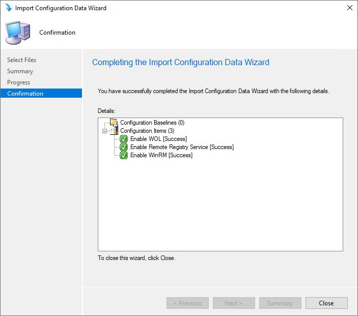 Import Configuration Data Wizard