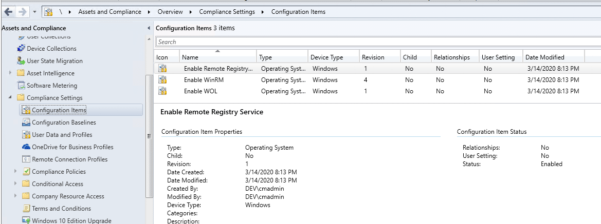Compliance Settings Configuration Items