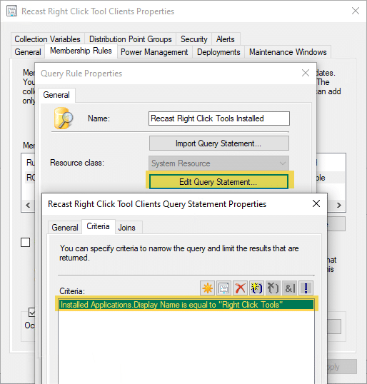 Recast Right Click Tools Query Rule Properties