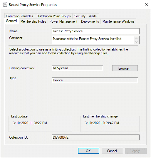 Recast Proxy Service Properties