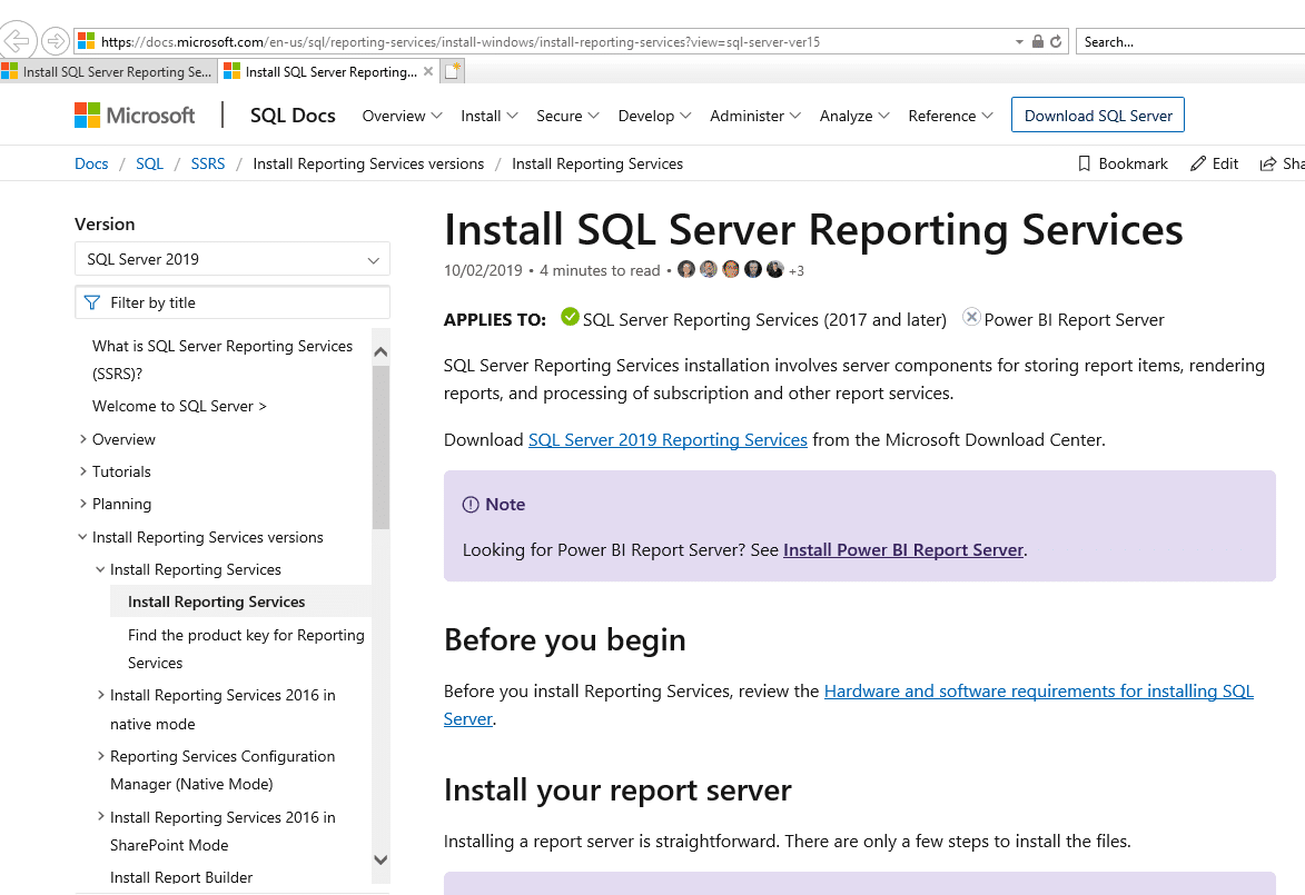 Install SQL Server Reporting Services