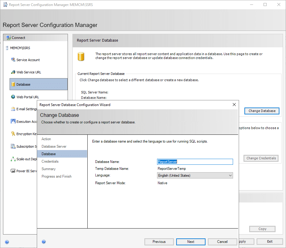 Report Server Configuration Manager